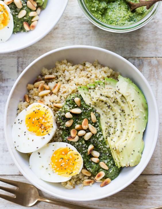 4. Savory Pesto Quinoa Breakfast Bowl