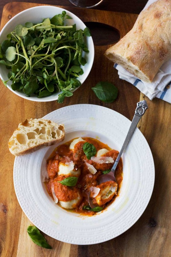 2. Easy Ricotta Gnudi With Roasted Tomato Sauce