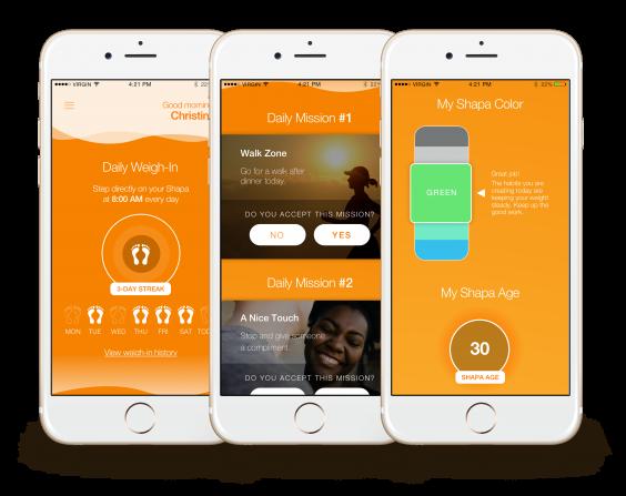 Screenshots of Shapa app