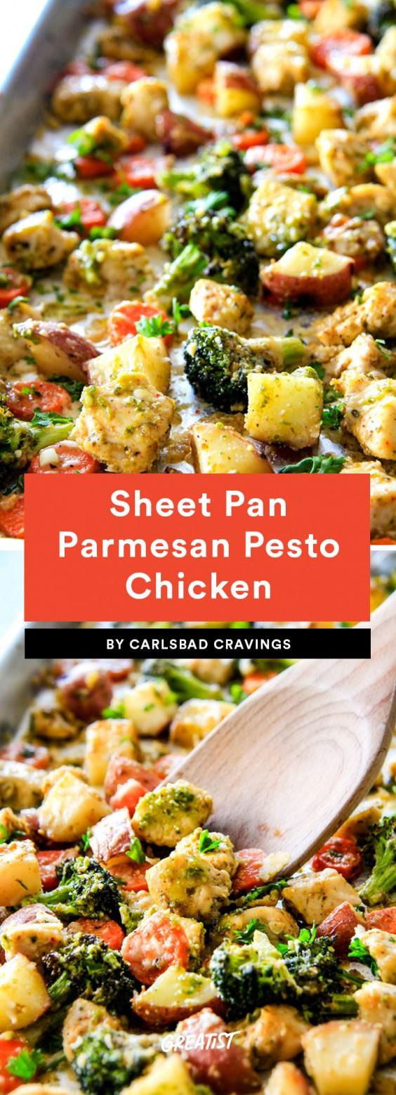 Sheet Pan Parmesan Pesto Chicken