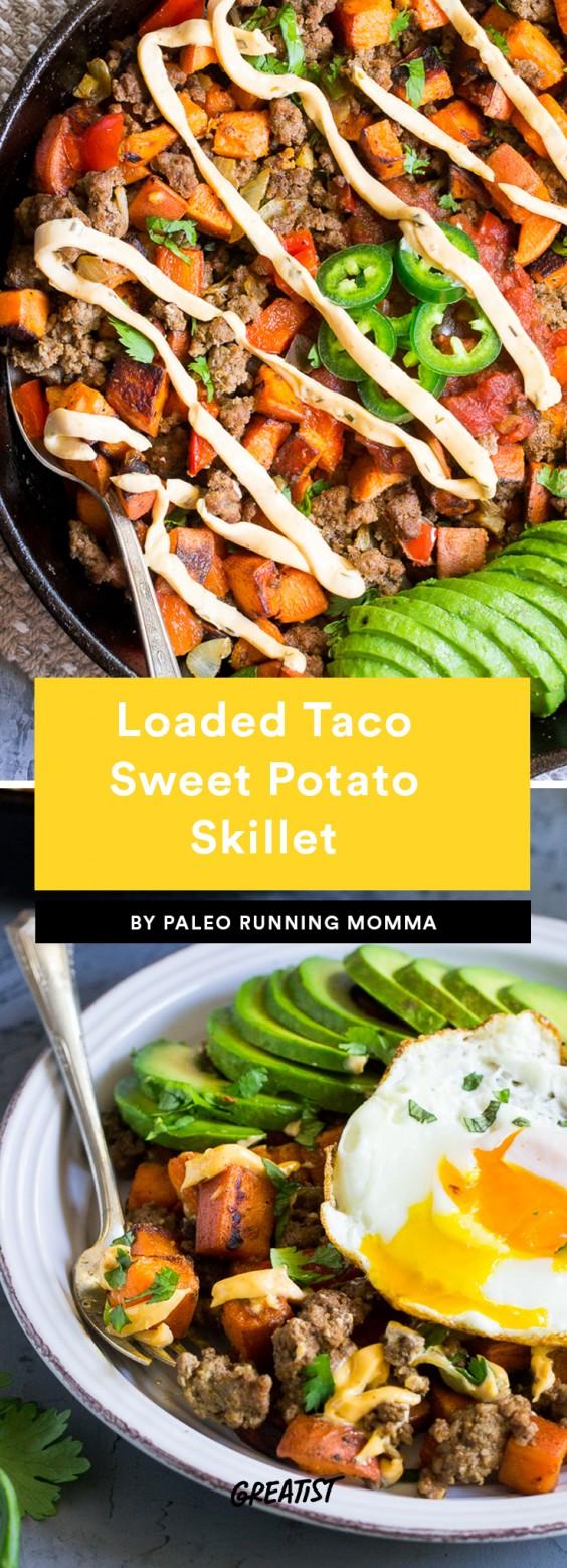 Loaded taco sweet potato skillet