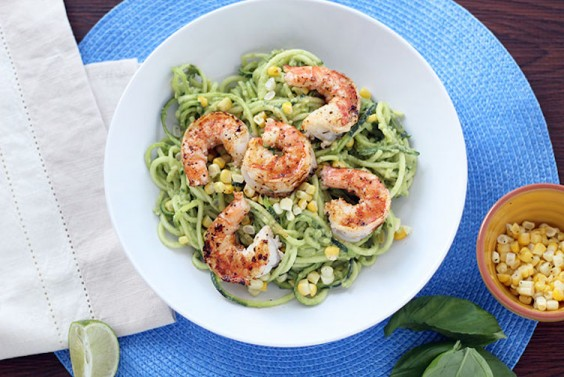 Avocado-Basil Zucchini Noodles with Shrimp and Corn
