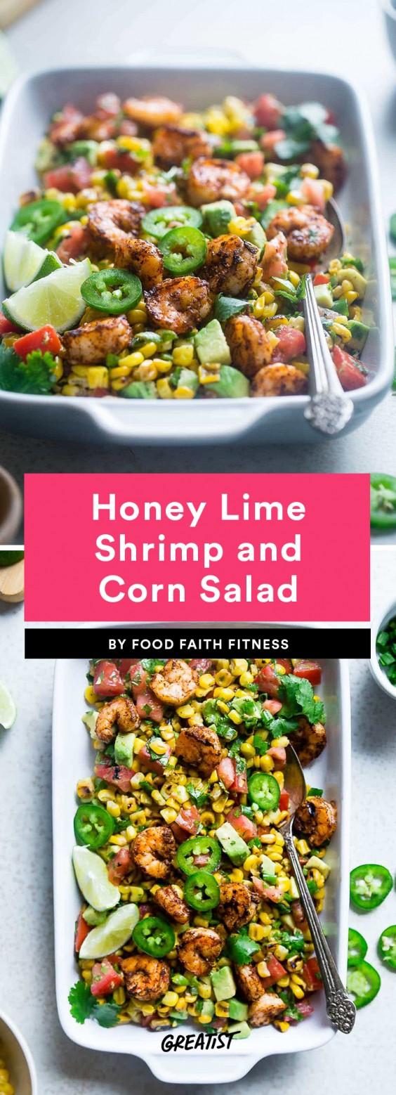 Honey Lime Shrimp and Corn Salad