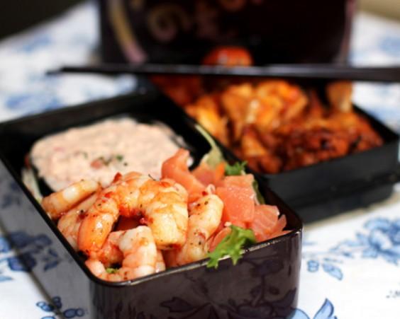 Salmon and Marinated Shrimp Salad