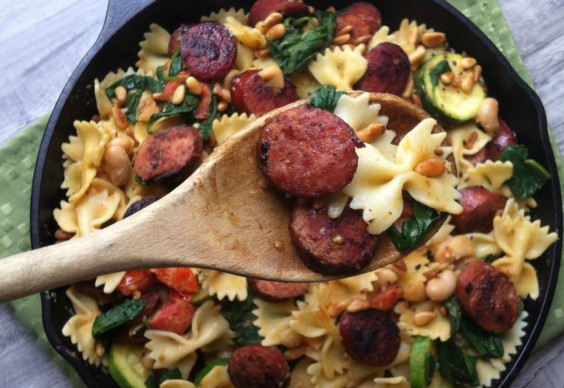 Smoked Sausage, White Bean, and Spinach Pasta