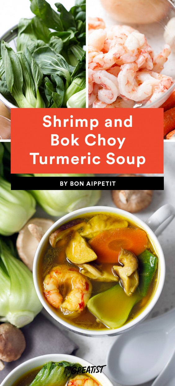 Shrimp and Bok Choy Turmeric Soup