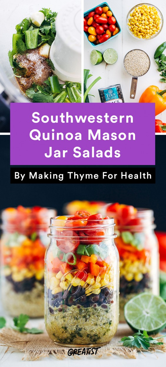 Meal Prep Lunches: Southwestern Quinoa Mason Jar Salads