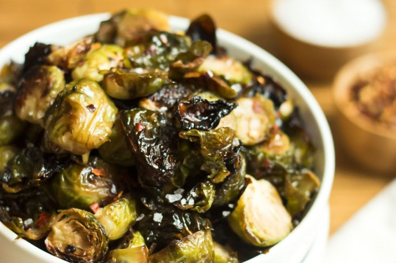 Spicy Honey Mustard Brussels Sprouts