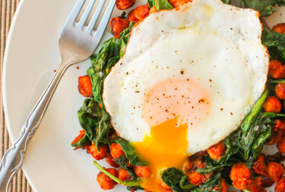 Smoky Chickpeas with Spinach and Fried Egg via Culinary Colleen