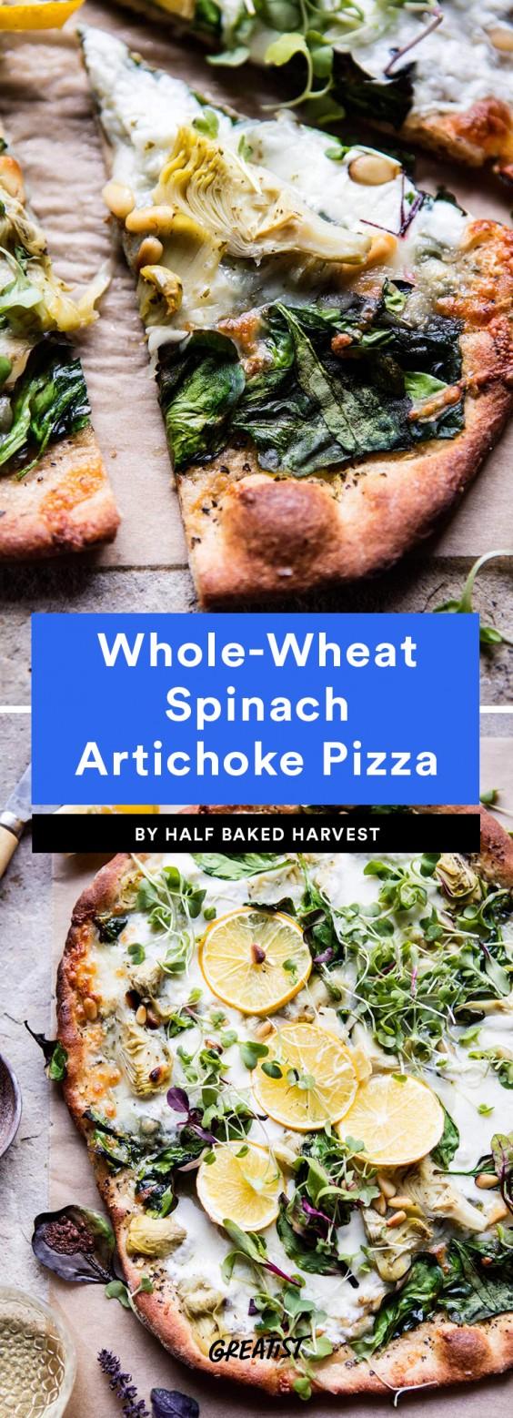 Whole Wheat Spinach Artichoke Pizza