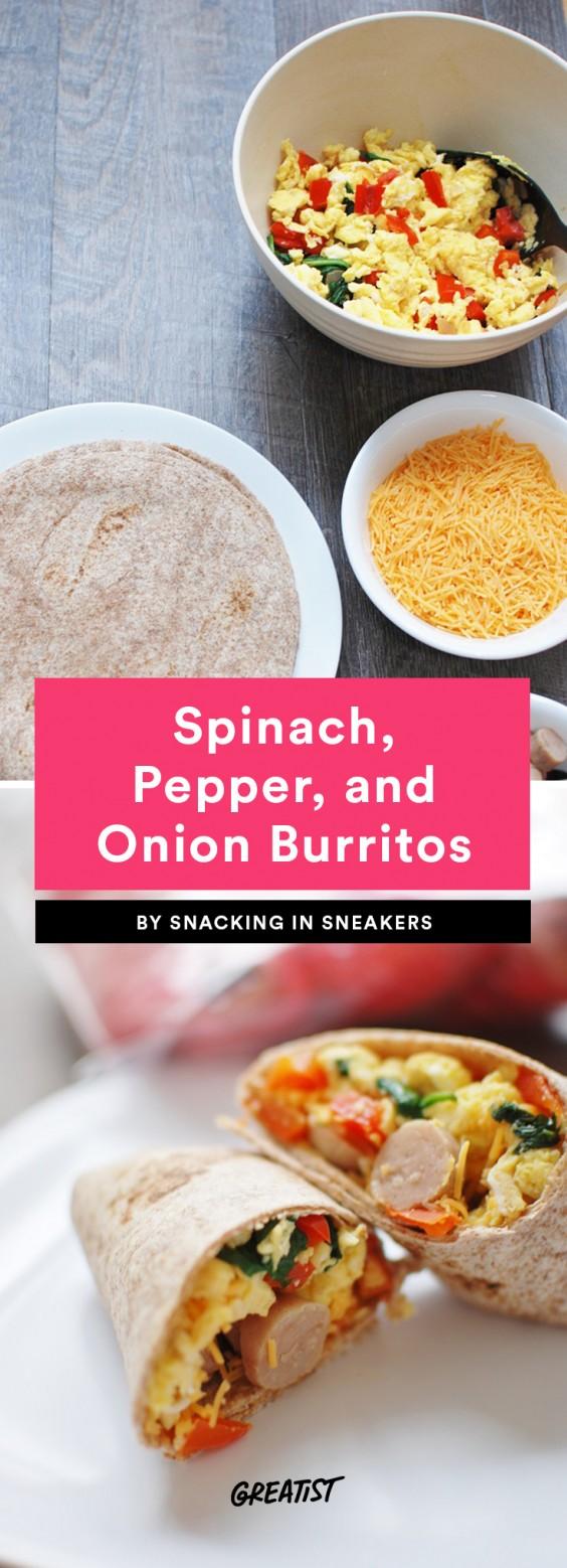 Spinach, Pepper and Onion Burrito Recipe