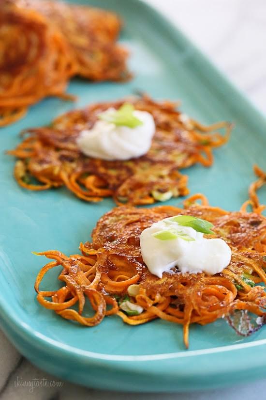 Spiralized Sweet Potato Pancakes