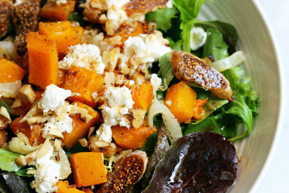 Roasted Onion, Squash, and Fig Salad