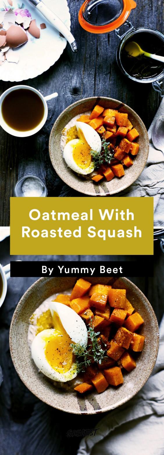 savory oatmeal: Oatmeal With Roasted Squash
