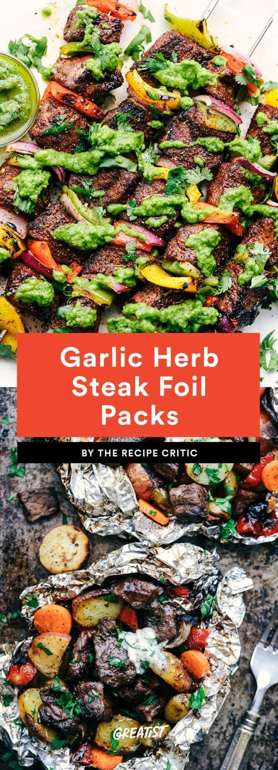 Garlic Herb Steak Foil Packets
