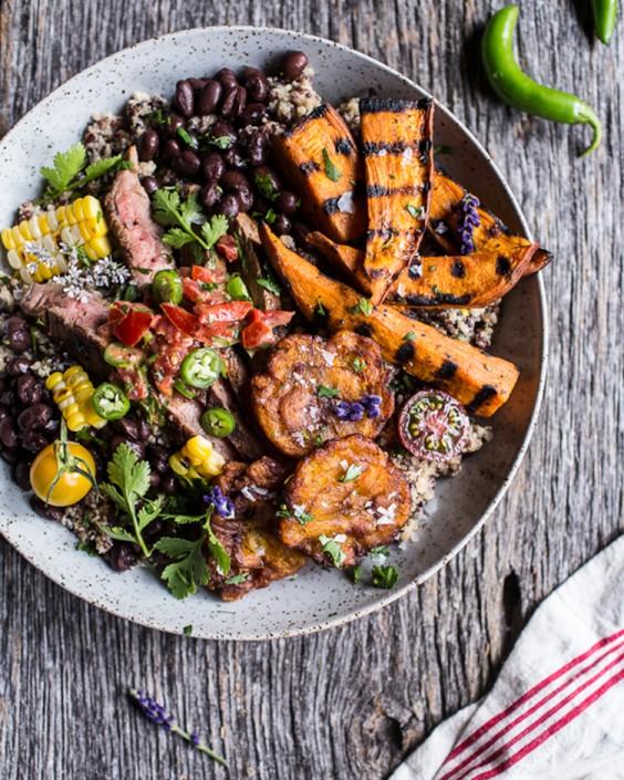 Brazilian Steak and Grilled Sweet Potato Quinoa Bowl
