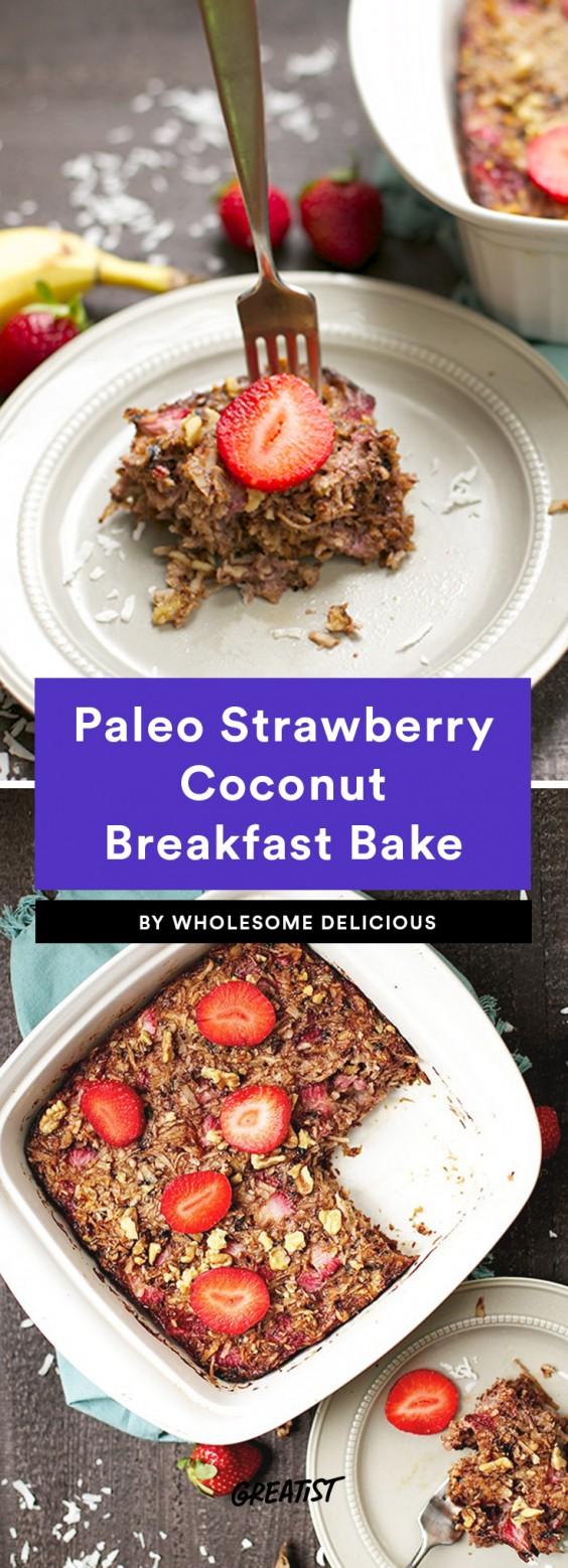 Paleo Strawberry Coconut Breakfast Bake