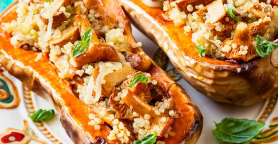 Quinoa and Mushroom-Stuffed Butternut Squas