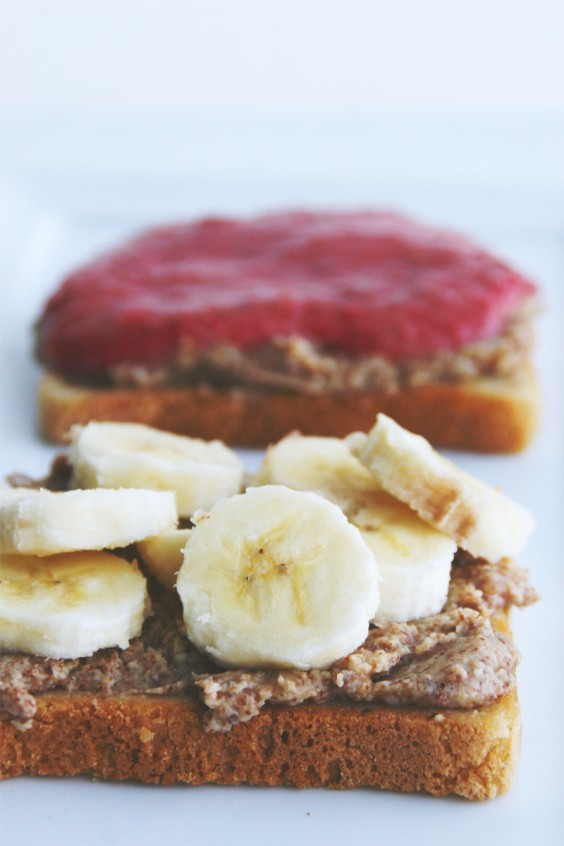 Almond Butter, Banana, and Chia Seed Jam Sandwich