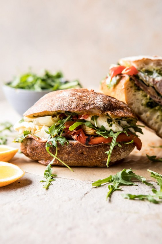 Antipasto Mozzarella Sandwich With Lemony Basil Pesto