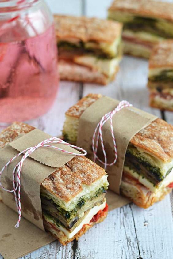 Eggplant, Prosciutto, and Pesto Pressed Picnic Sandwich