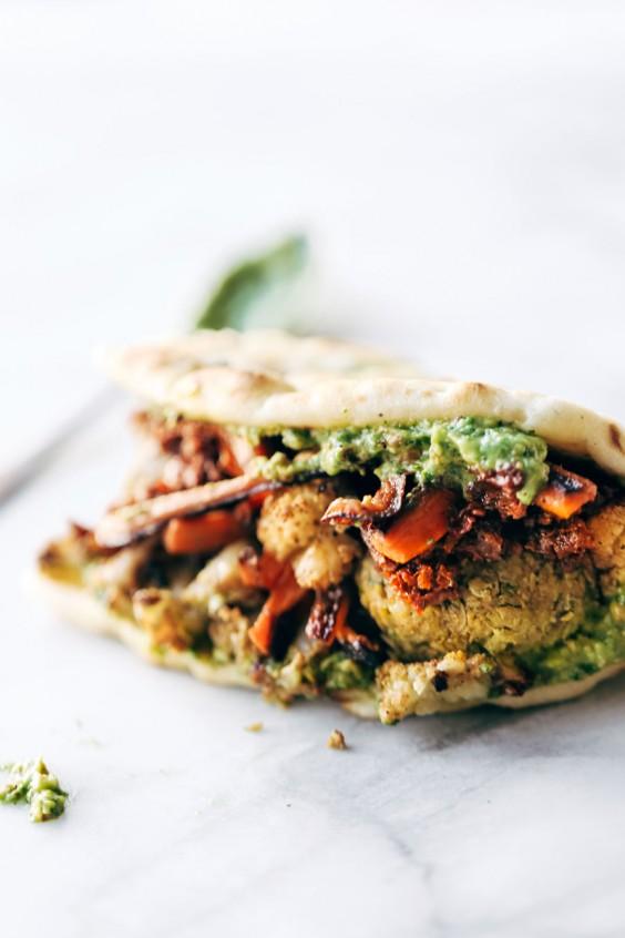 Spicy Falafel Naan-Wich
