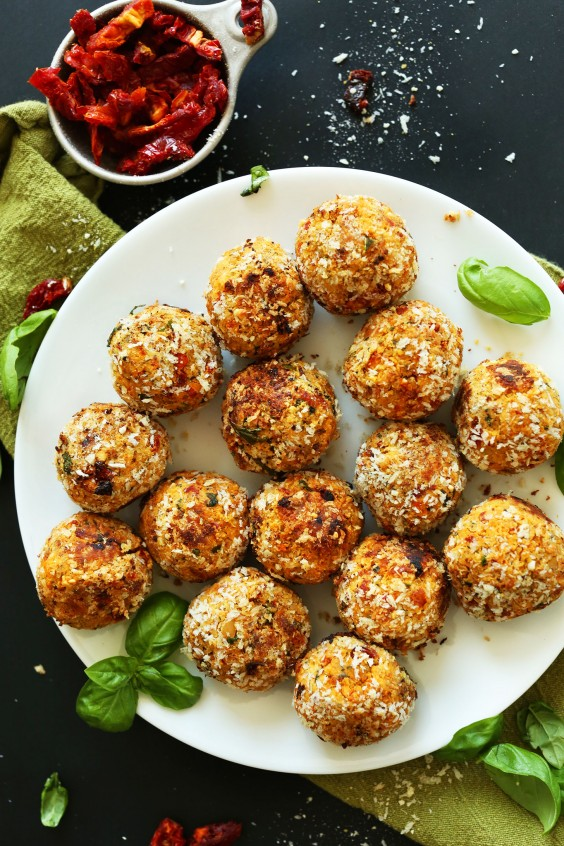 Sun-Dried Tomato and Basil Veggie Meatballs