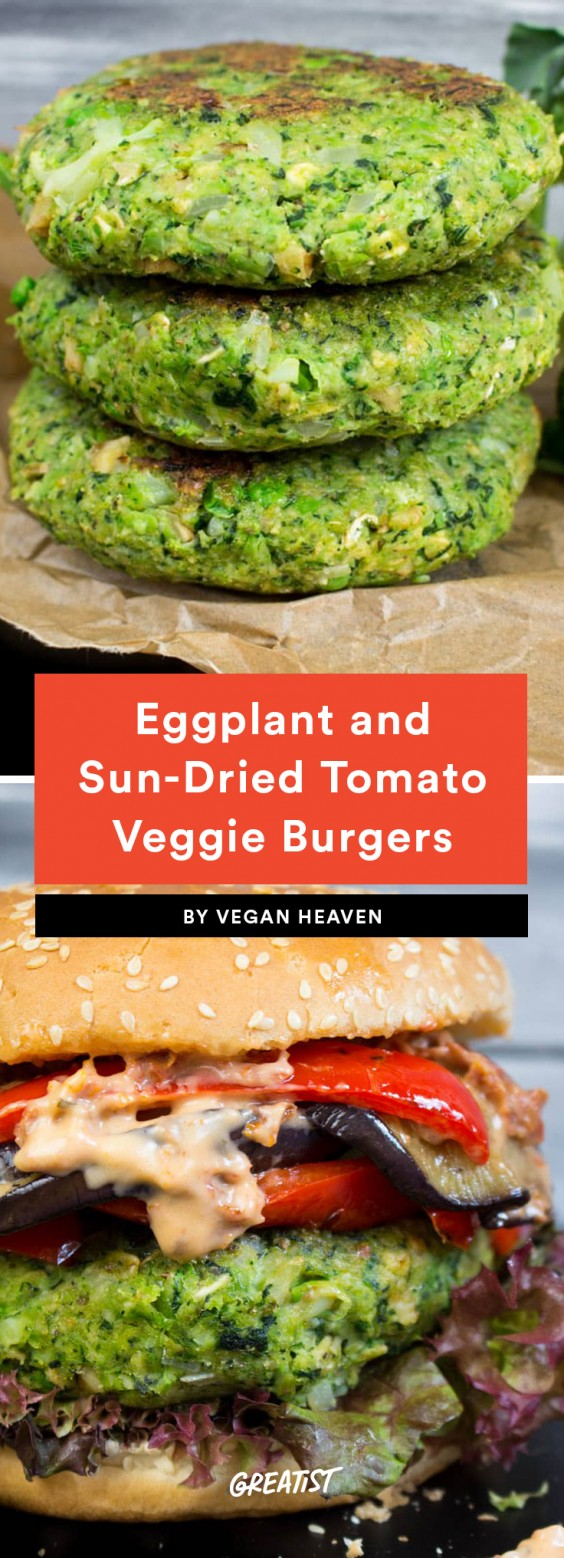 Eggplant and Sun-Dried Tomato Veggie Burgers