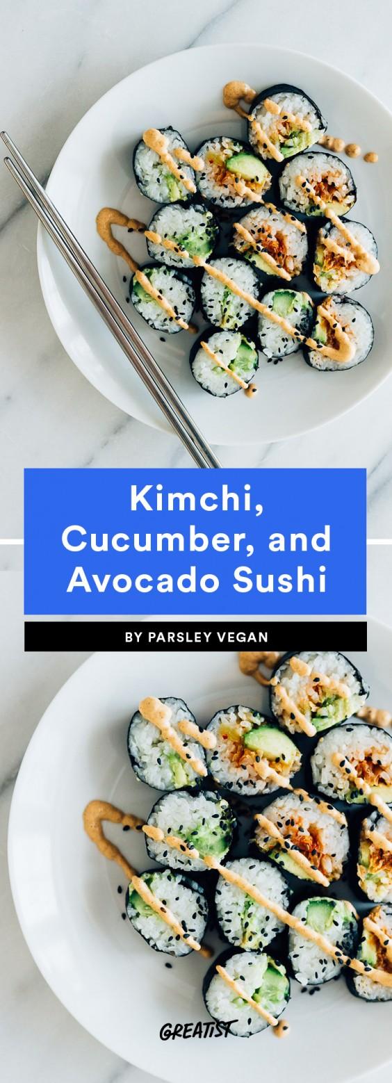 Kimchi, Cucumber, and Avocado Sushi