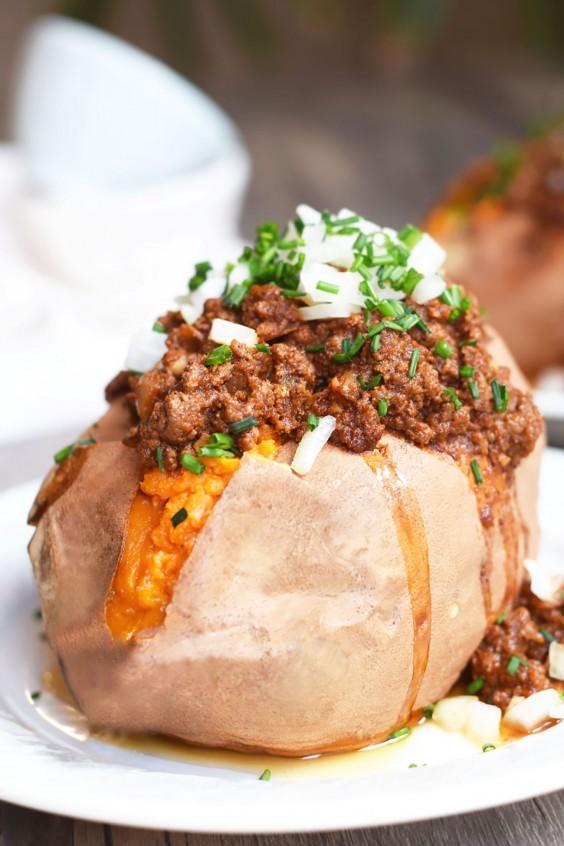 Ground Beef Recipes: Enchilada Stuffed Sweet Potatoes