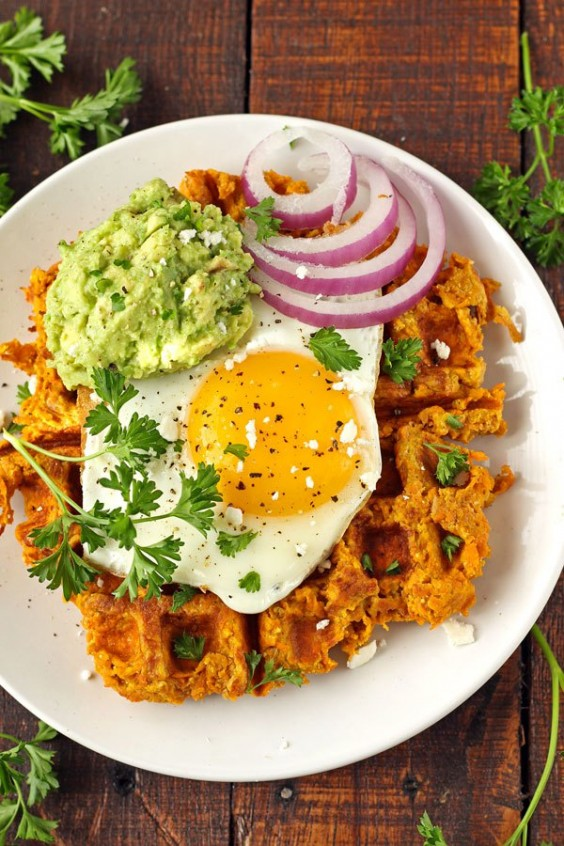 Sweet Potato Waffles With Avocado and Egg