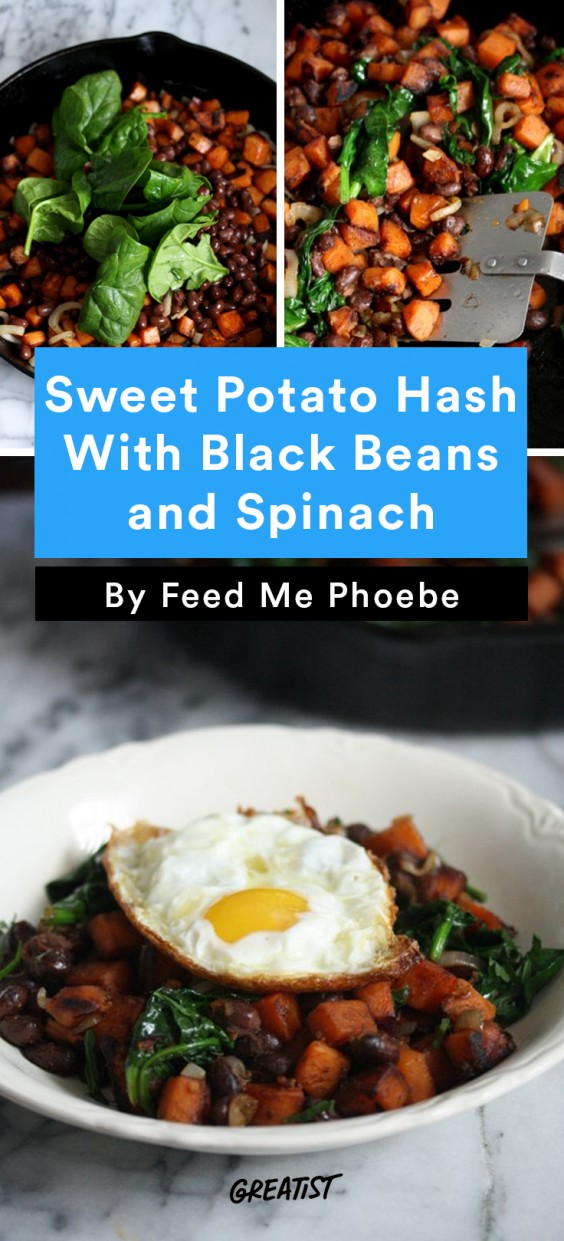 Sweet Potato Hash: Black Beans and Spinach