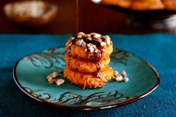 Sweet Potato Latkes with Brown Sugar Syrup