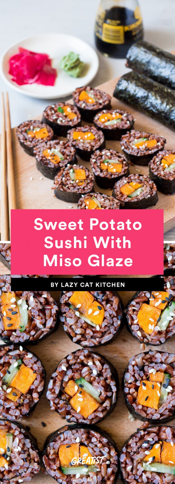 Sweet Potato Sushi With Miso Glaze