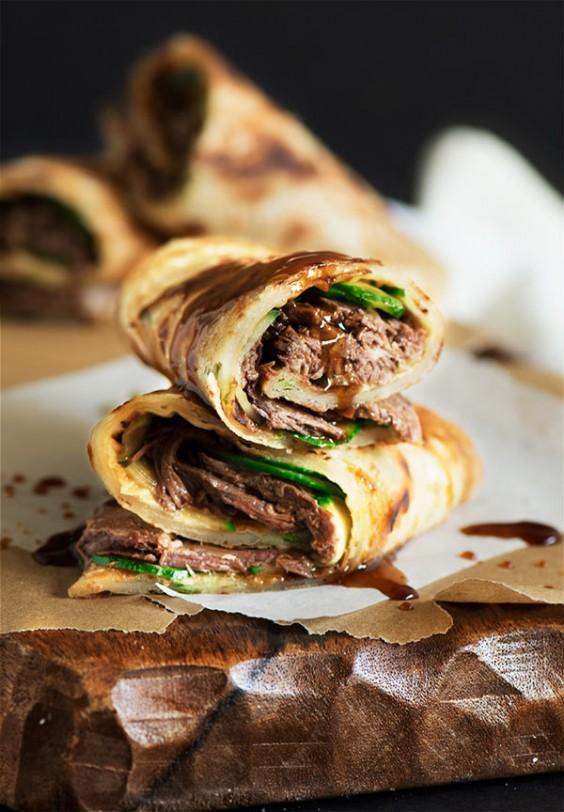 Taiwanese Beef Stuffed Scallion Pancakes