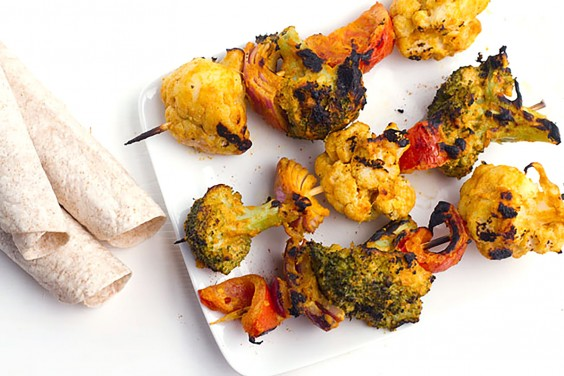 Tandoori Grilled Broccoli and Cauliflower Kebabs