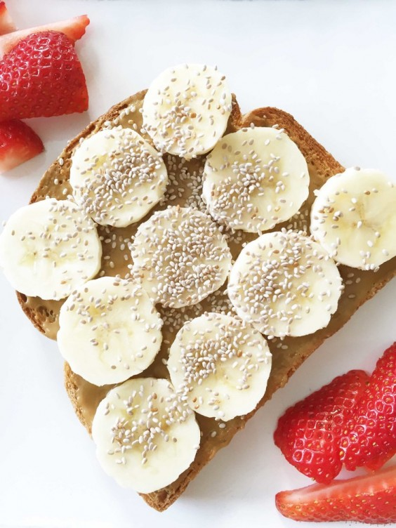 8. Sun Butter, Banana, and Chia Seed Toast