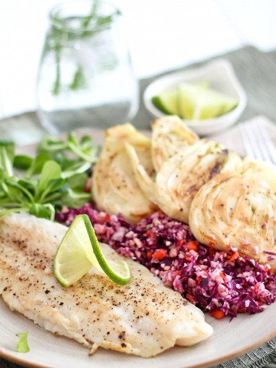 Whole30 Dinner Recipes: Fillet of Fish With Coleslaw and Braised Fennel