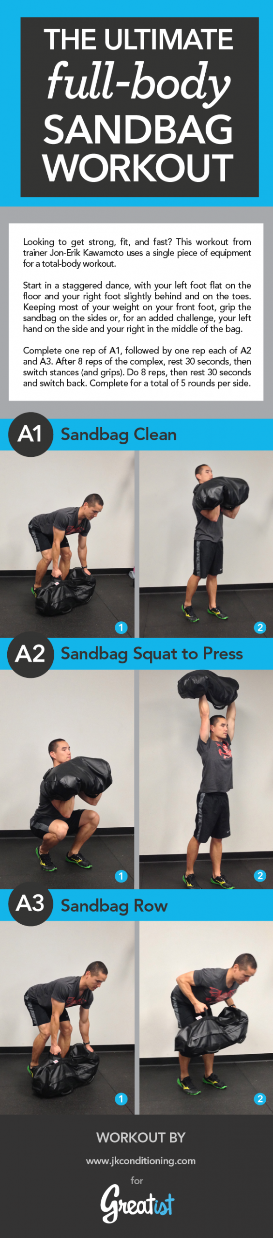The Ultimate Full Body Sandbag Workout INFOGRAPHIC Greatist