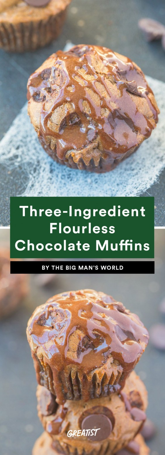 three ingredient breakfast: Flourless Chocolate Muffins