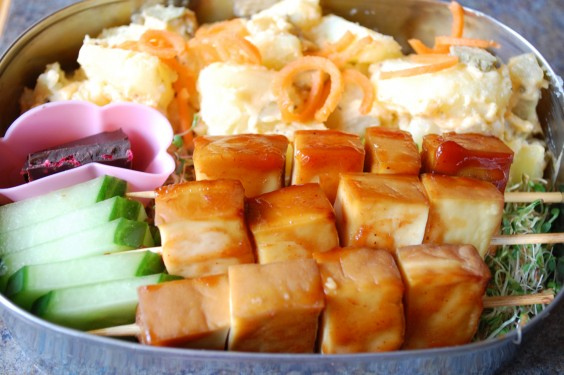 32 Healthy and Eye-Catching Bento Box Lunch Ideas: Baked Tofu and Potato Salad