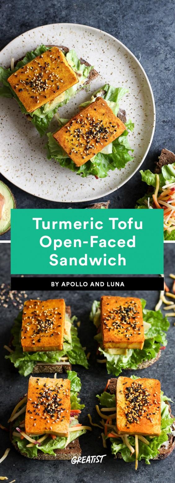 Turmeric Tofu Open-Faced Sandwich