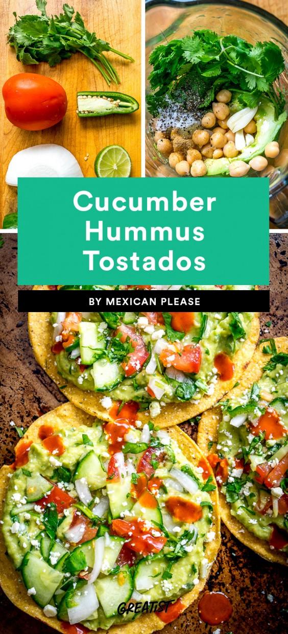 Cucumber Hummus Tostadas