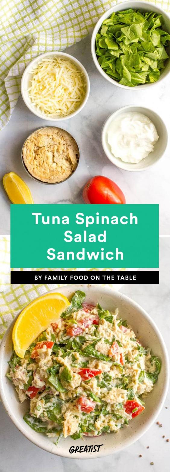 Tuna Spinach Salad Sandwich