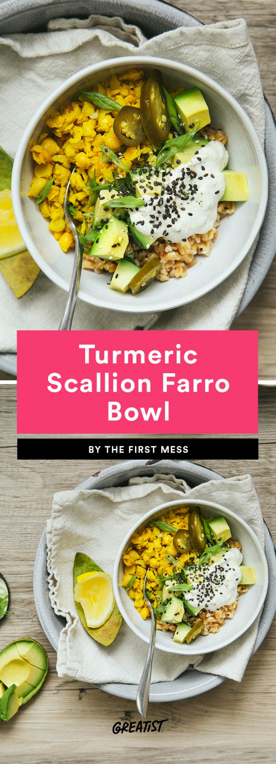 Turmeric Scallion Farro Bowl