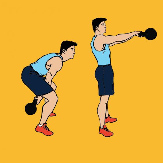 Тренировка Табата. Упражнение с гирей