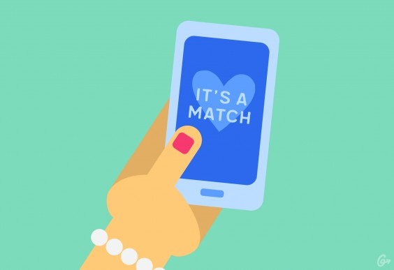 An illustration of a hand holding a phone with the words IT'S A MATCH displayed
