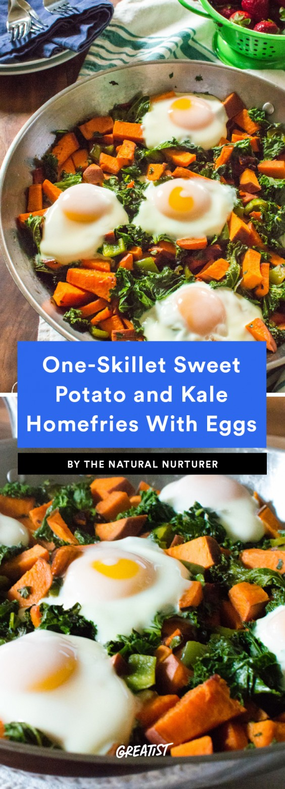 One-Skillet Sweet Potato and Kale Homefries With Eggs