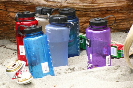 Waterbottles On Beach