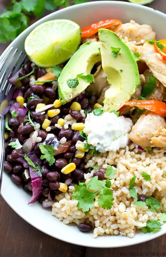 Healthy Grain Bowls: Mexican Chicken Fajita Rice Bowls